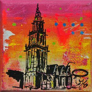 Martinitorentje-Martinitorentje Groningen-Groningen-schilderijtje-roze-geel