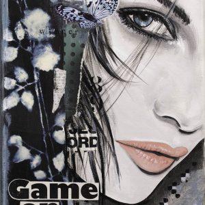 vrouwengezicht-mooie ogen-bloemen-schilderij