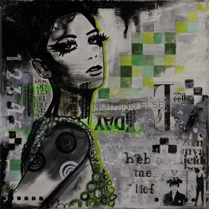 vrouw-gezicht-zwartwit-groen-schilderij