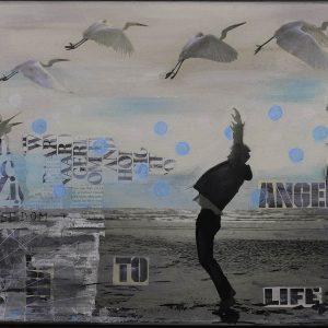 strand-vogels-lichtblauw-mixedmedia-collage-schilderij